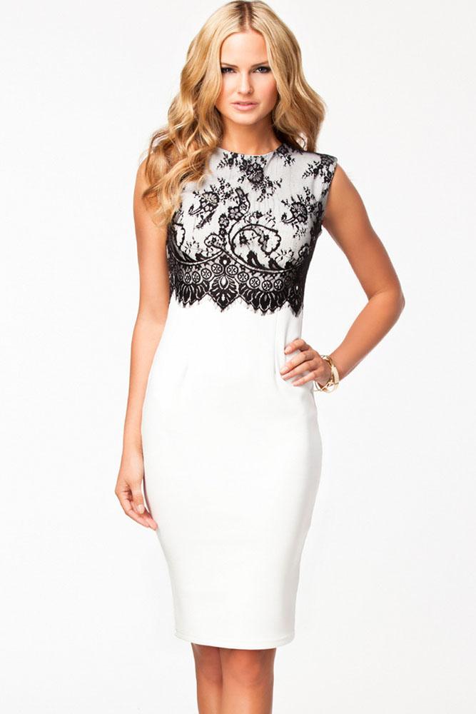Платья футляр с кружевом белое 10